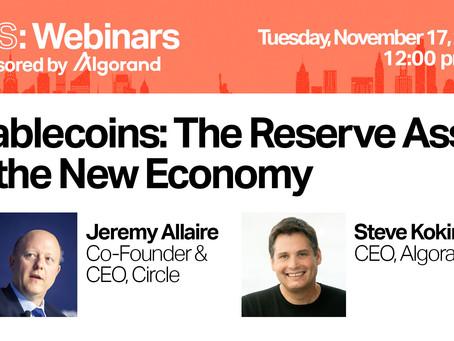 2020年11月18日(水)02:00〜(日本時間)ウェビナー「ステーブルコイン:新しい経済の準備資産」