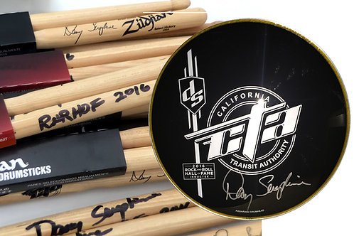 Autographed RnRHOF Commemorative Drumhead and DS Signature Drum Sticks: