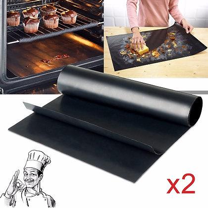 2*Reusable Oven & BBQ Grill Mat [Teflon Fiber]