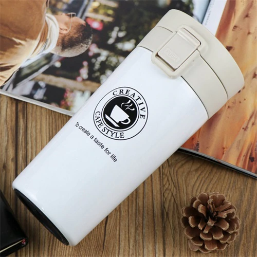 White Thermos Mug [Stainless Steel] to reduce waste and fight global warming. Climate Coping. Sustainable reduce waste.