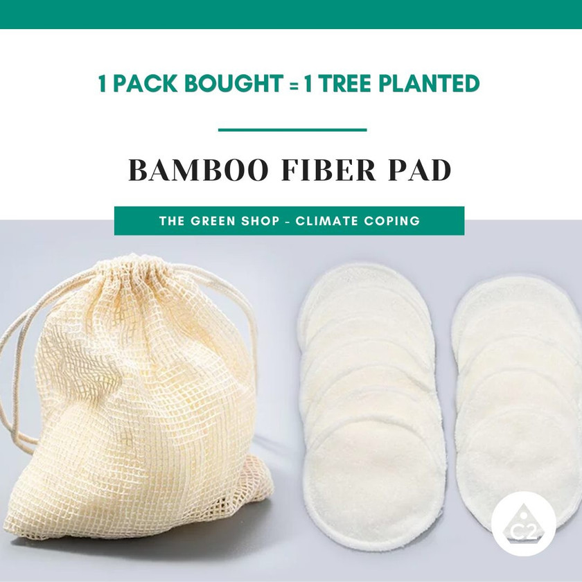Bamboo fiber reusable eco pads. biodegradable climate coping global warming. This item plants trees.