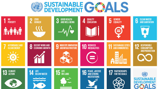 Infographics. The 17 sustainable goals of the UN. No poverty, zero hunger, affordable and clean energy, reduced inequalities. Global Warming. Climate Coping.