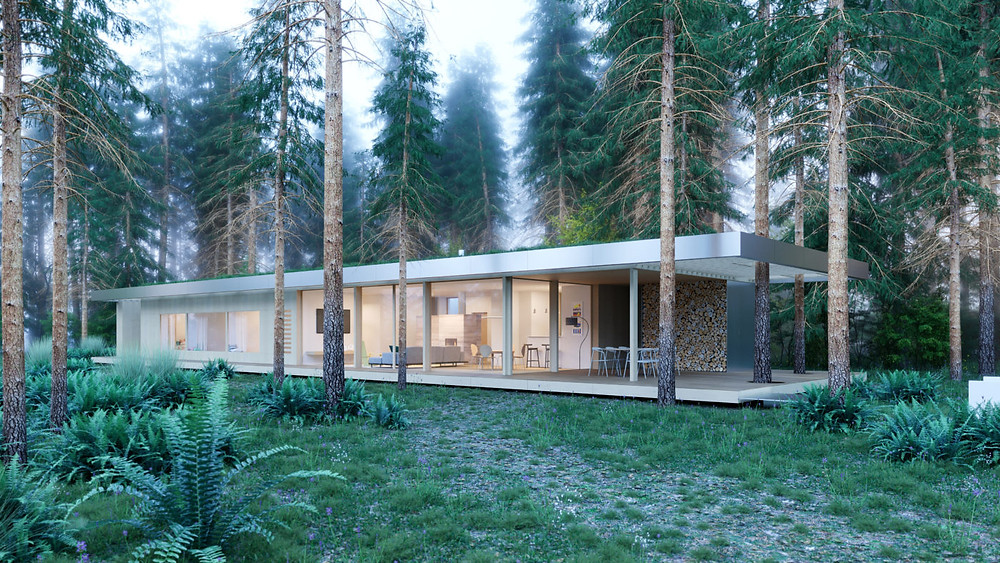 Passive house in Fontainebleau forest France. Environmentally friendly modern passive house. Architect. Global Warming. Climate Coping.