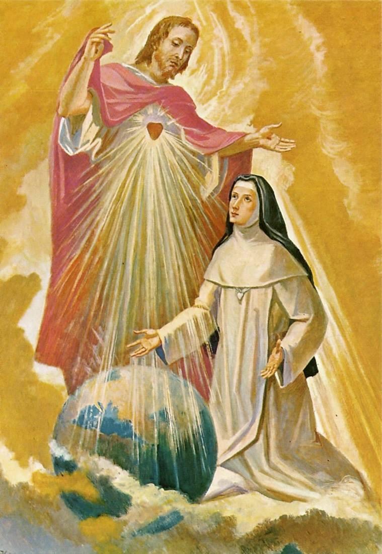"""Pintura da famosa aparição do Sagrado Coração de Jesus à Irmã Maria na qual Ele lhe prometeu que faria resplandecer uma luz nova sobre o Mundo inteiro e lhe disse: """"Ao brilho desta luz, Povos e Nações serão reconfortados pelo seu calor."""""""