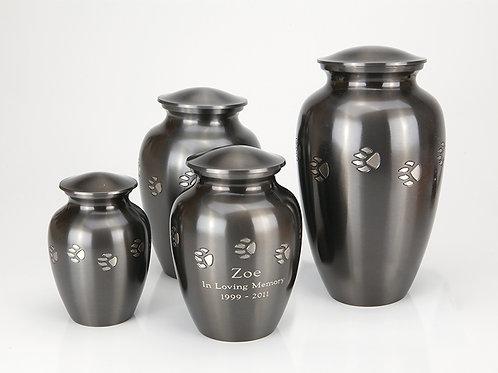 Brass Pawprint Vase Urn with Engraving