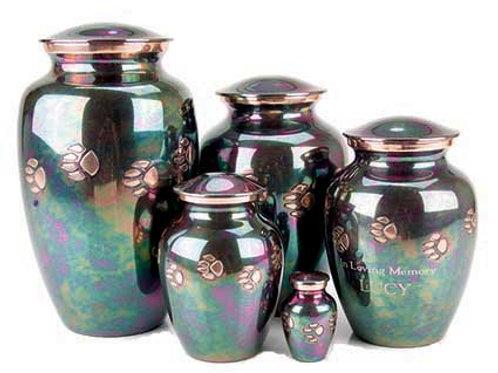 Brass Teal Raku Pawprint Vase Urn with Engraving
