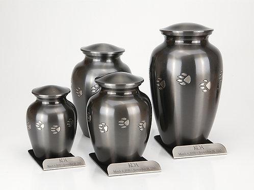 Brass Pawprint Vase Urn with Engraved Base