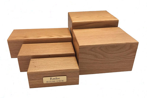 Simply Oak (MDF) Urn with Engraved Plate