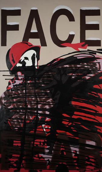 FACE FEAR, 60x36 inches, acrylic on canvas, 2014