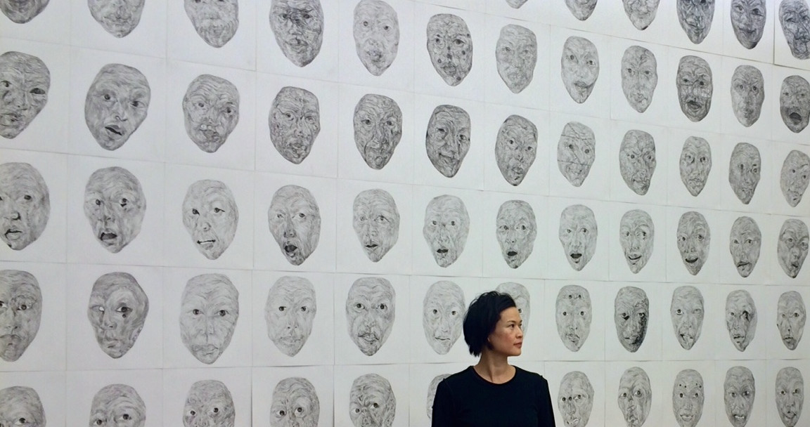 installation view, the selfie, charcoal on paper, 2015