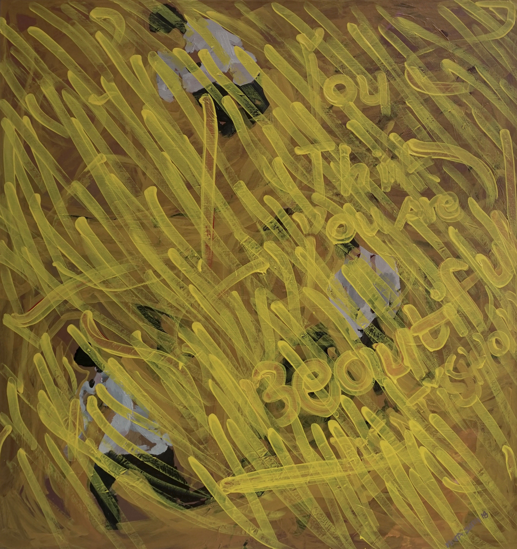 Yellow Rain,34x36inches, oil and acrylic on canvas, 2018