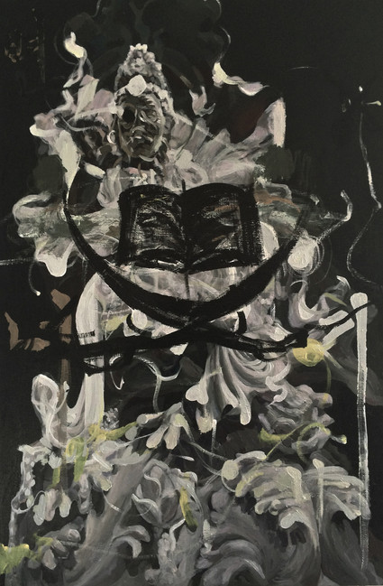 book of goddess, 36x24inches, acrylic on canvas, 2016