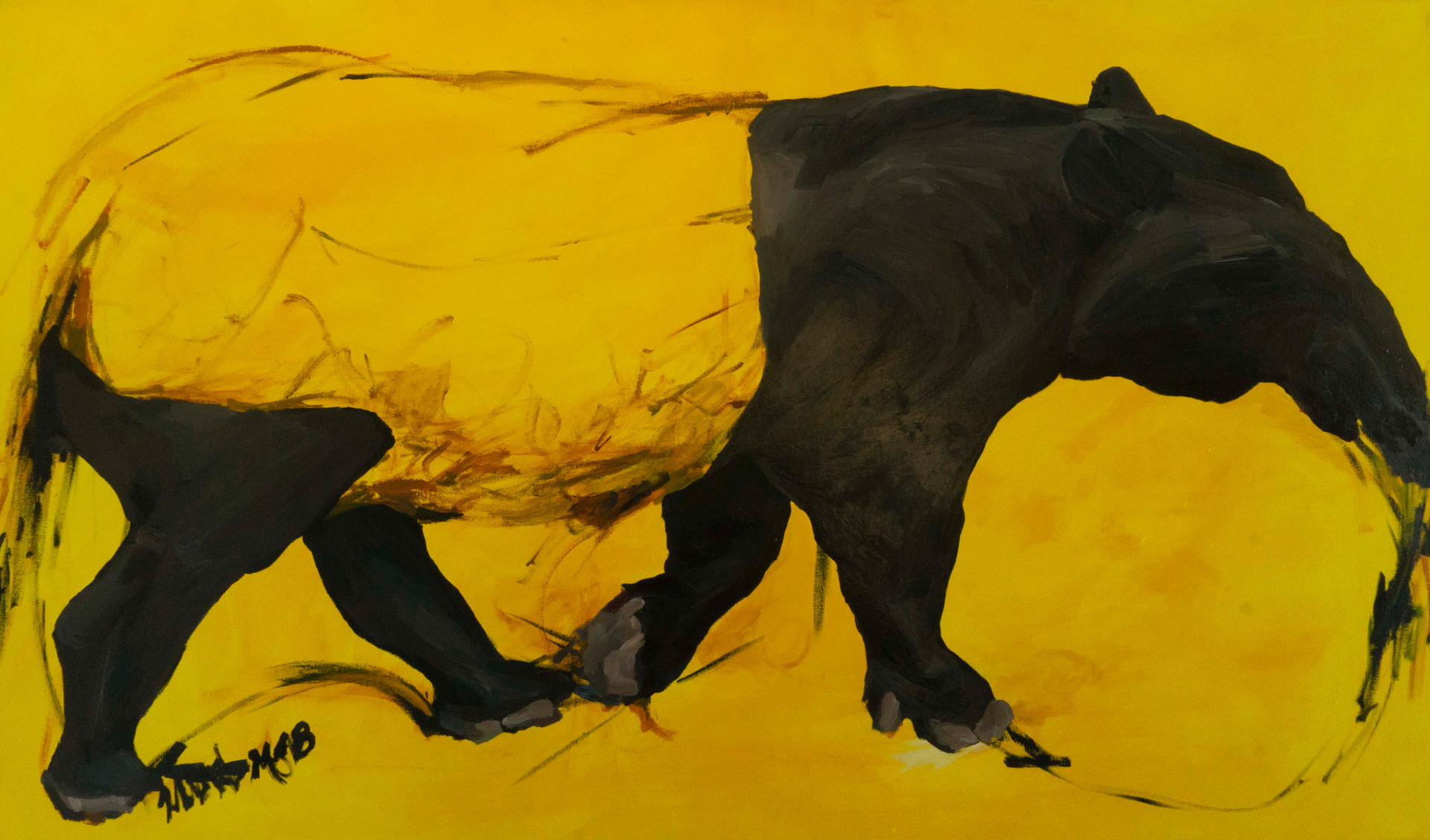 Sunshine tapir, oil and acrylic on canvas, 36x60, 2018