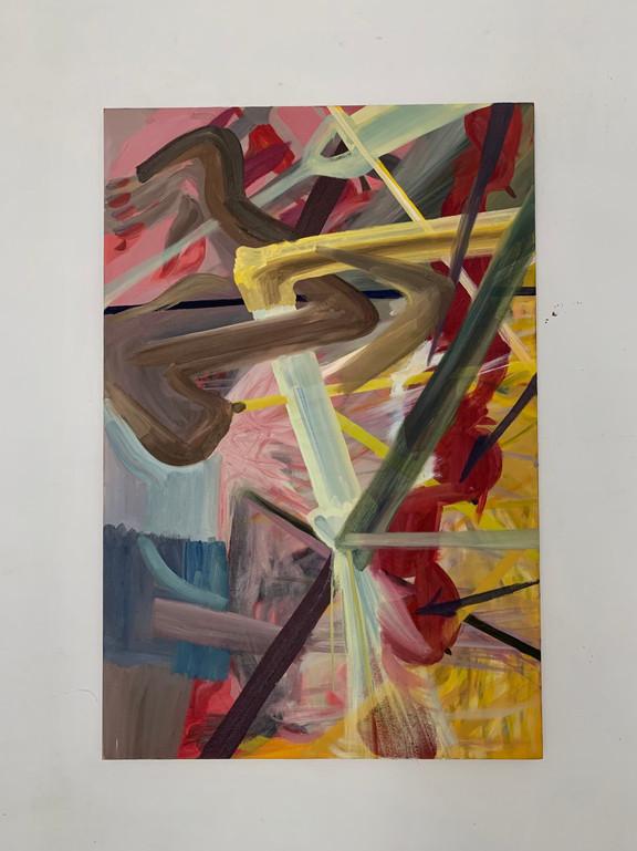 "sex war, 2021, oil on canvas, 24x36"""