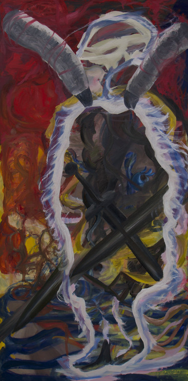 "angelic ice boy, 2021, oil on canvas, 28x56"""