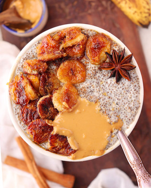Warm Chia Pudding with Caramelized Bananas - Shradha Rawat Photography