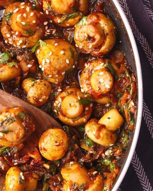 Chilli Garlic Mushroom - Shradha Rawat Photography