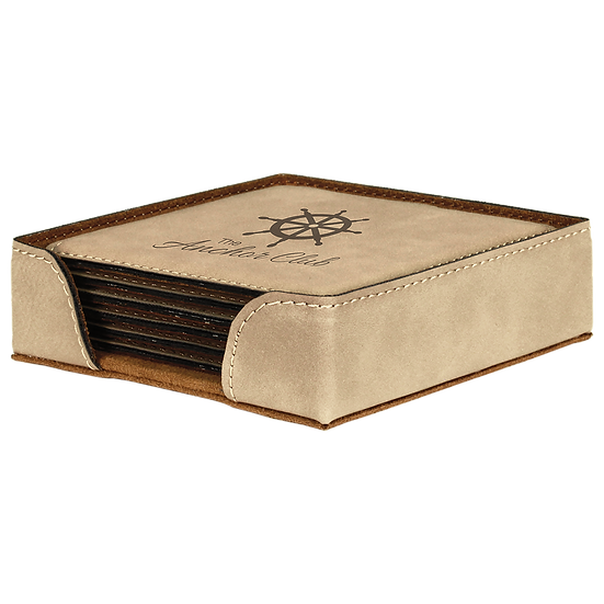 Light Brown Leatherette Square 6-Coaster Set