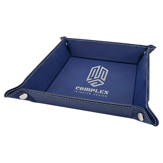 Blue/Silver Leatherette Folding Tray with Snaps
