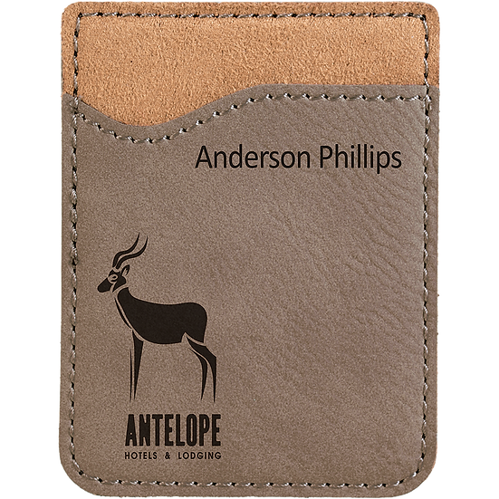 Gray Leatherette Phone Wallet