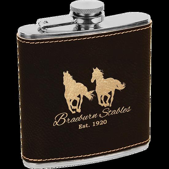 Black/Gold Leatherette 6 oz. Flask