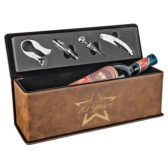 Rustic/Gold Leatherette Single Wine Box with Tools