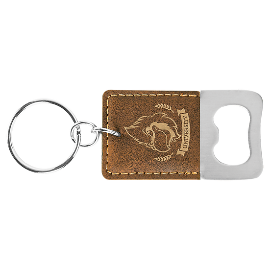 Rustic/Gold Leatherette Rectangle Bottle Opener Keychain