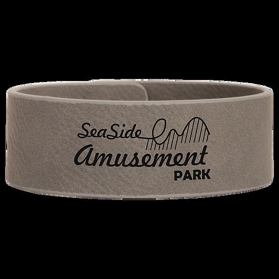 Gray Leatherette Cuff Bracelet