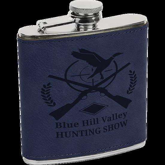 Blue/Black Leatherette 6 oz. Flask