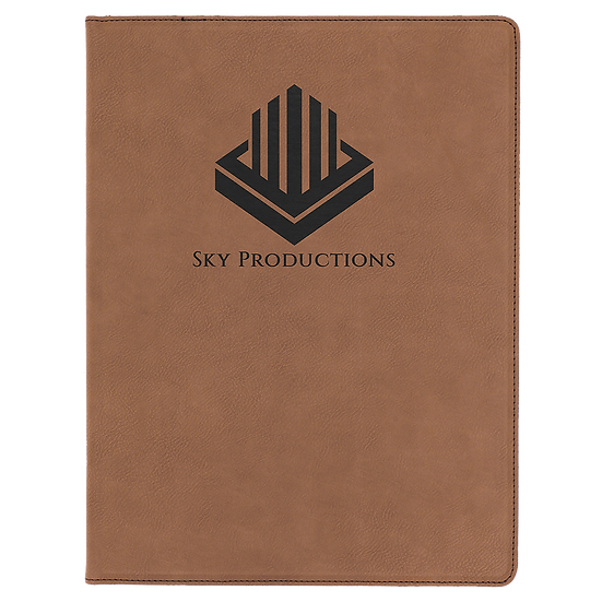 Dark Brown Leatherette Portfolio with Notepad