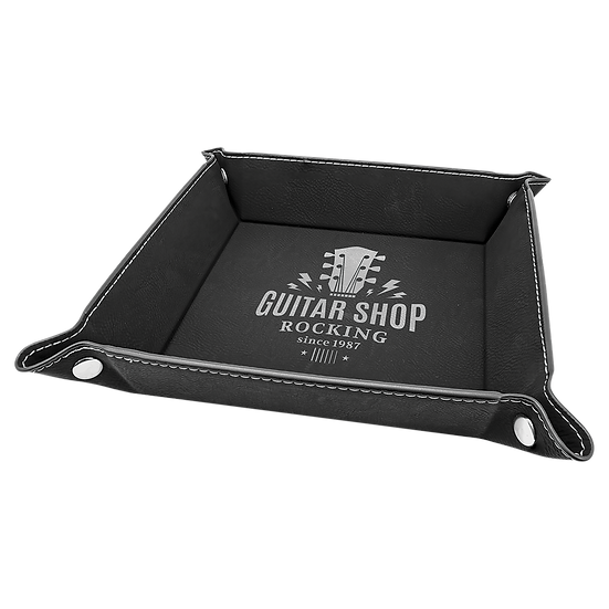 Black/Silver Leatherette Folding Tray with Snaps