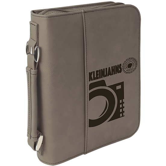 Gray Leatherette Book/Bible Cover with Zipper & Handle