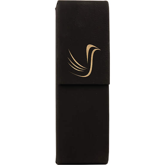 Black/Gold Leatherette Double Pen Case