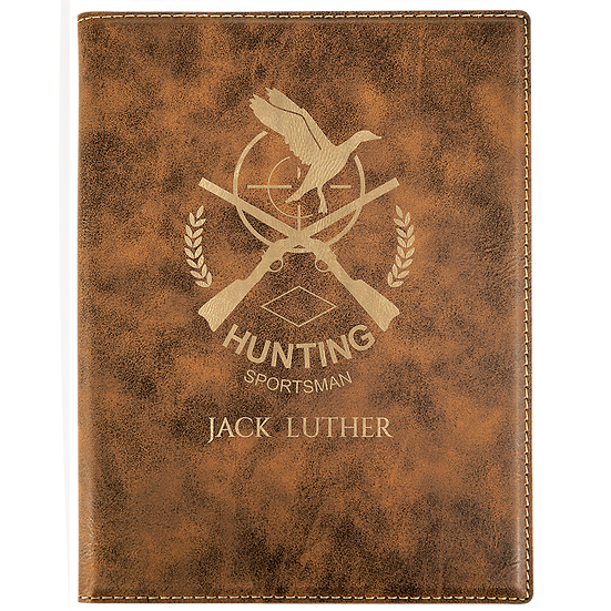 Rustic/Gold Small Leatherette Portfolio with Notepad