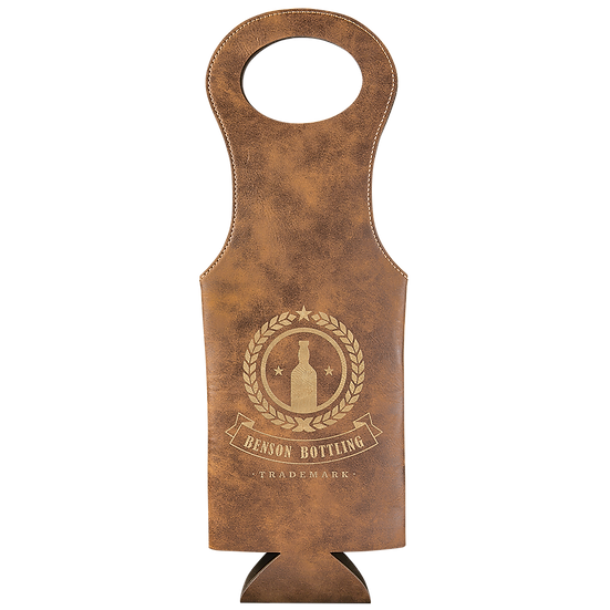 Rustic/Gold Leatherette Wine Bag