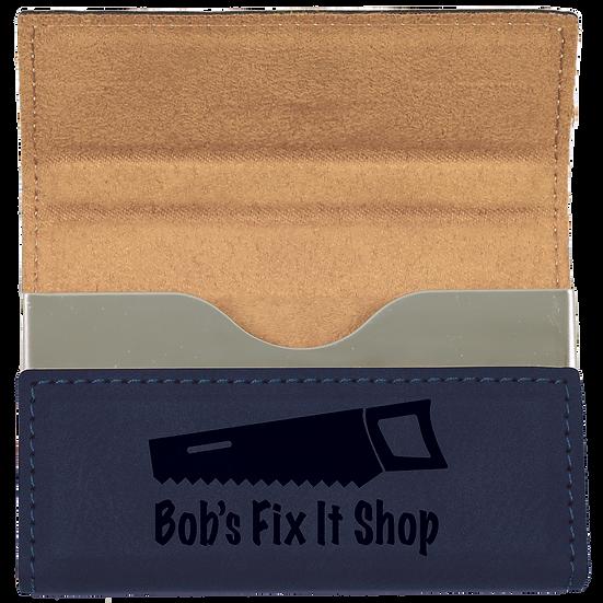 Blue/Black Leatherette Hard Business Card Holder
