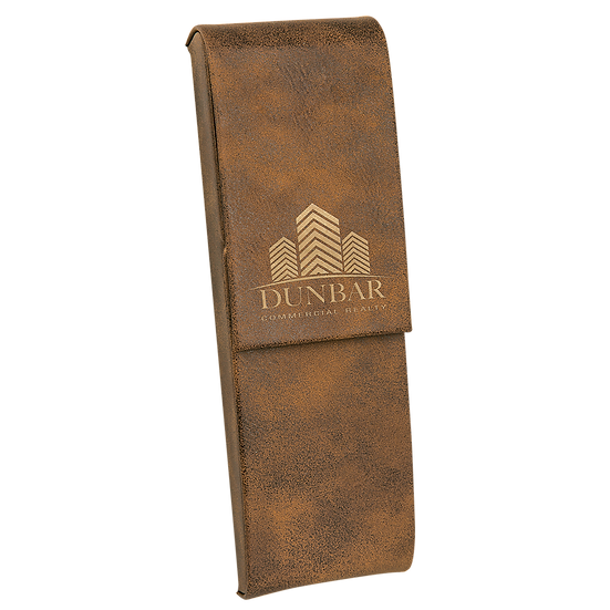 Rustic/Gold Leatherette Double Pen Case