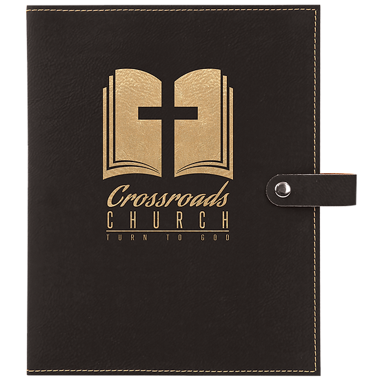 Black/Gold Leatherette Book/Bible Cover with Snap Closure