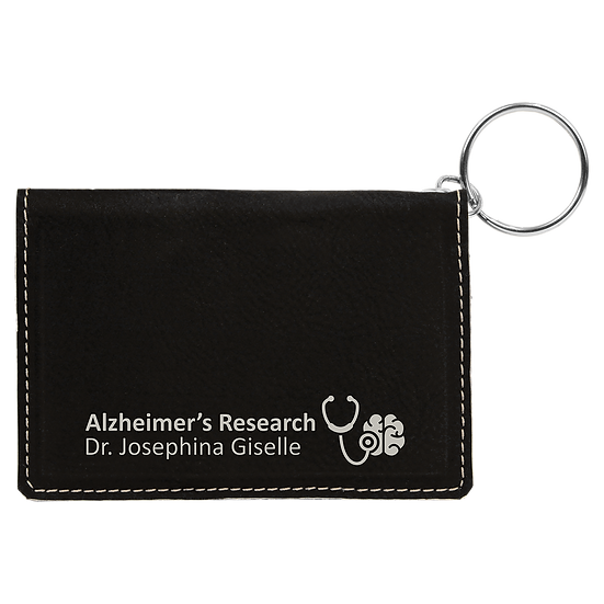 Black/Silver Leatherette ID Holder with Keychain