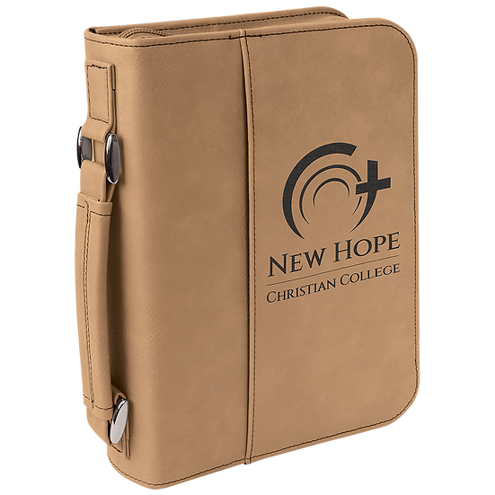 Light Brown Leatherette Book/Bible Cover with Zipper & Handle