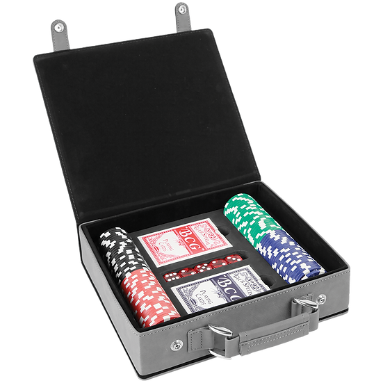 Gray Leatherette Poker Set with 100 Chips, 2 Decks of Card & 5 Dice