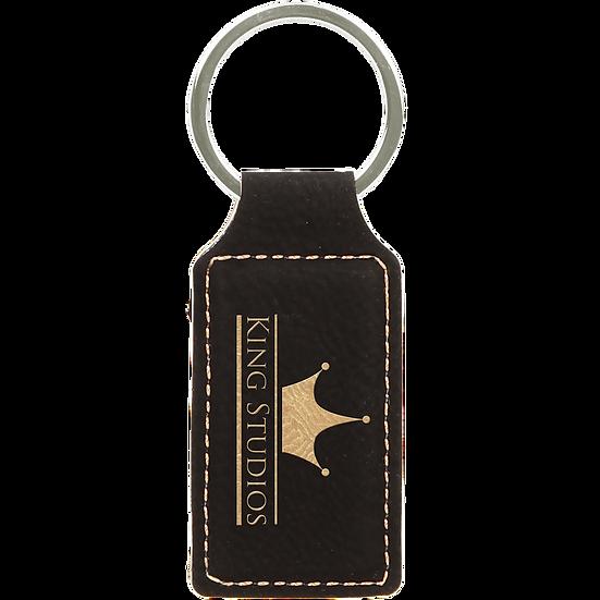 Black/Gold Leatherette Rectangle Keychain