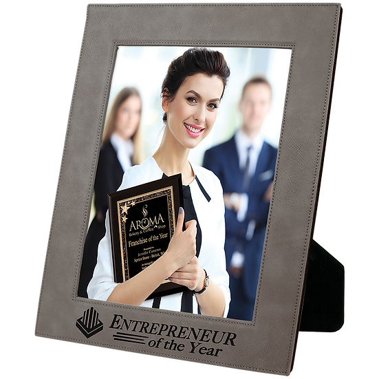 "Gray 8"" x 10"" Leatherette Photo Frame"