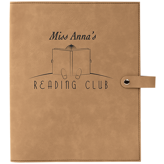 Light Brown Leatherette Book Cover with Snap Closure