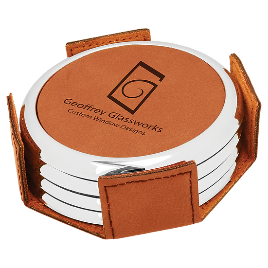 Rawhide Leatherette with Silver Edge Round 4-Coaster Set