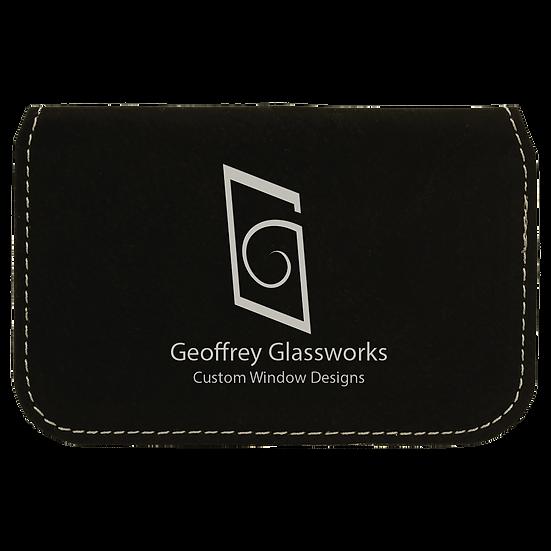 Black/Silver Leatherette Flexible Card Case