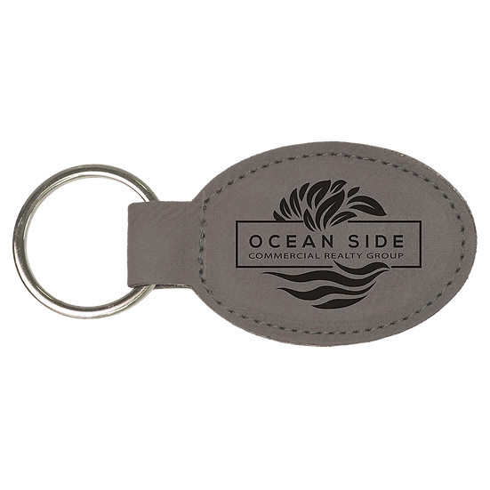 Gray Leatherette Oval Keychain