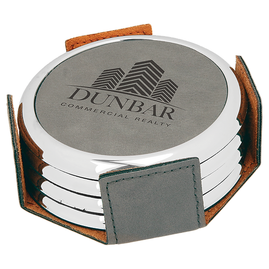 Gray Leatherette with Silver Edge Round 4-Coaster Set