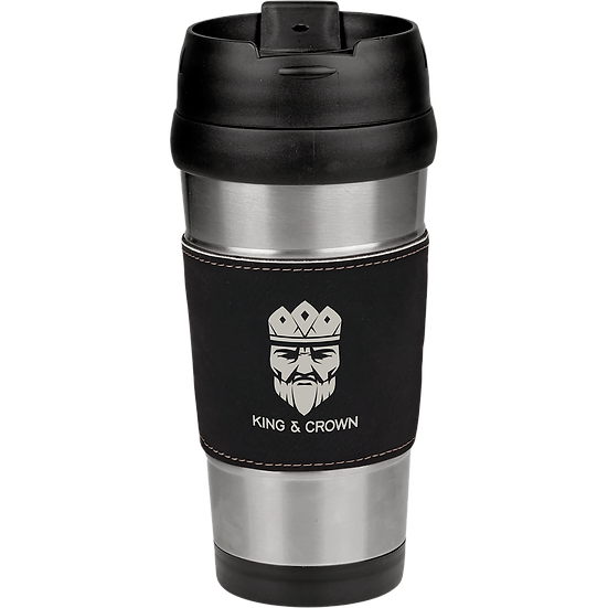 16 oz. Stainless Steel Travel Mug with Black/Silver Leatherette Grip