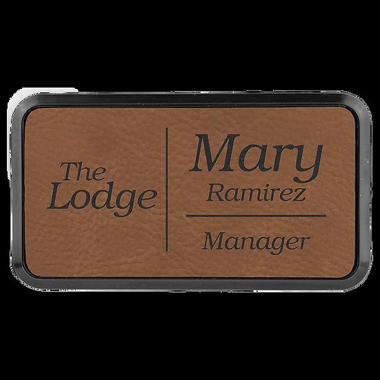 "Dark Brown 3"" x 1 1/2"" Leatherette Round Corner Badge with Frame"